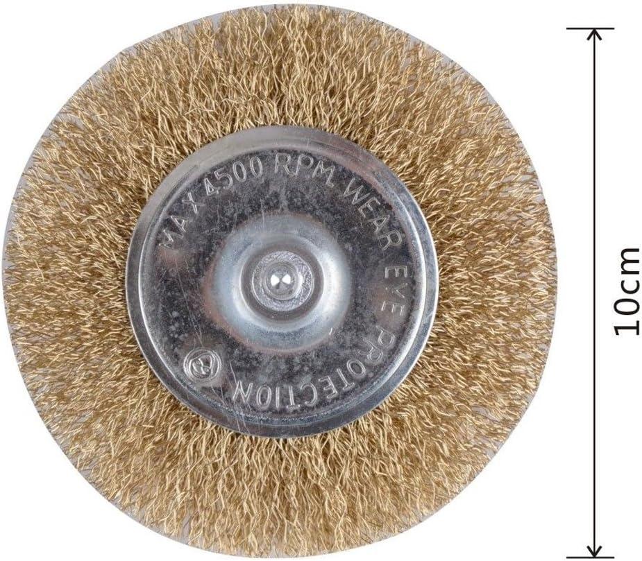 Vetrineinrete/® Spazzola a disco per trapano setole filo in ferro ondulati ottonati con gambo 50 75 100 mm 92151 C8 Diametro 75 mm