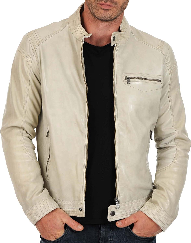 New Mens Genuine Lambskin Leather Slim Fit Biker Motorcycle Jacket for Men X395