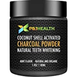 P & J Health Teeth Whitening Coconut Activated Charcoal Powder Natural Mint Flavor(1.4 Fl Oz)