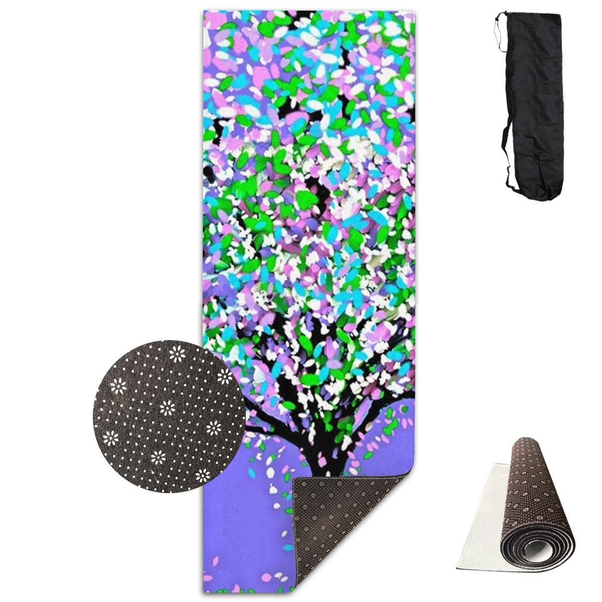 colorful Tree Painting Yoga Mat  Advanced Yoga Mat  NonSlip Lining  Easy to Clean  LatexFree  Lightweight and Durable  Long 180 Width 61cm