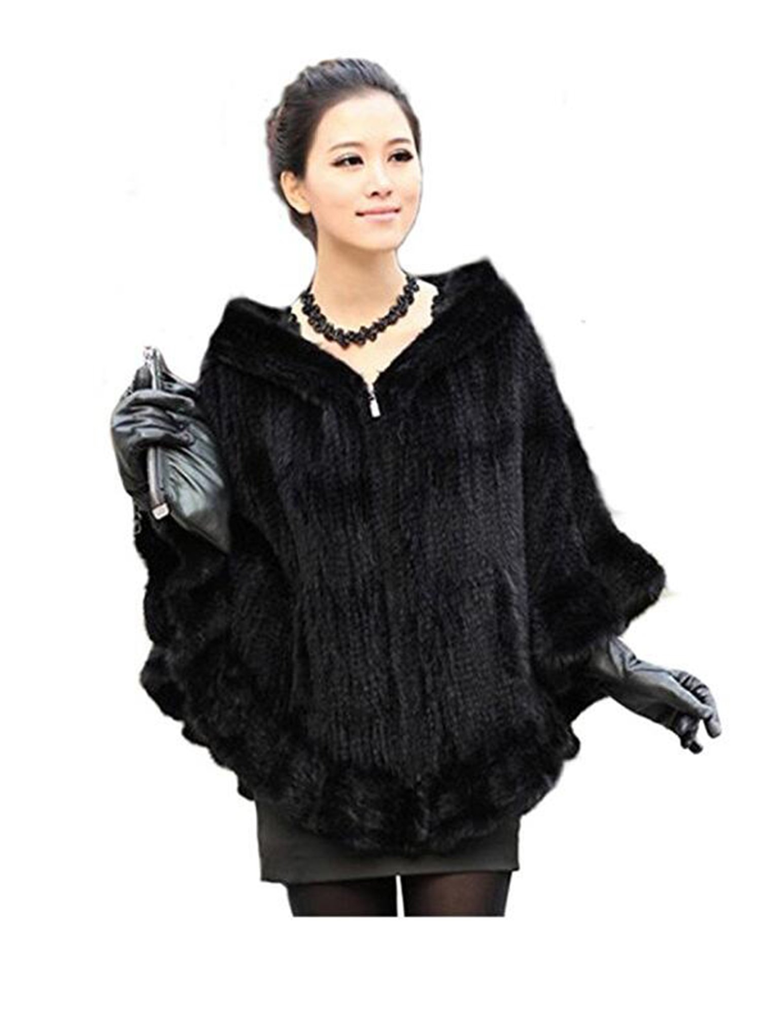 YR Lover Women's Real Mink Fur Zipper Cape Cloak Poncho Shawl With Hooded