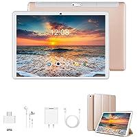 Tablet 10 Pulgadas 4G Full HD 3GB de RAM 32GB/128GB de ROM Android 9.0 Quad Core Tablet Batería de 8500mAh Dual SIM 8MP Cámara Tablet PC Netfilx Google WiFi Bluetooth GPS OTG(Oro