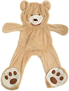HollyHOME Teddy Bear Cover DIY Gift Huge Plush Teddy Bear Unstuffed Life Size Teddy Bear Giant Animal Toy 78 Inches Tan