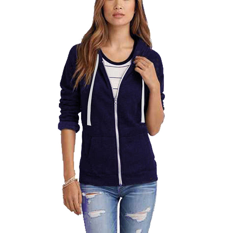 Ladies Girls Womens New Plus Size Zip Up Sweatshirt Hooded Hoodie UK Size 8-28
