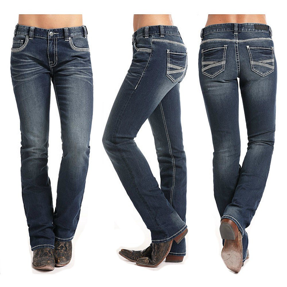 Rock and Roll Cowgirl Juniors Coolmax Boyfriend Jeans Boot Cut
