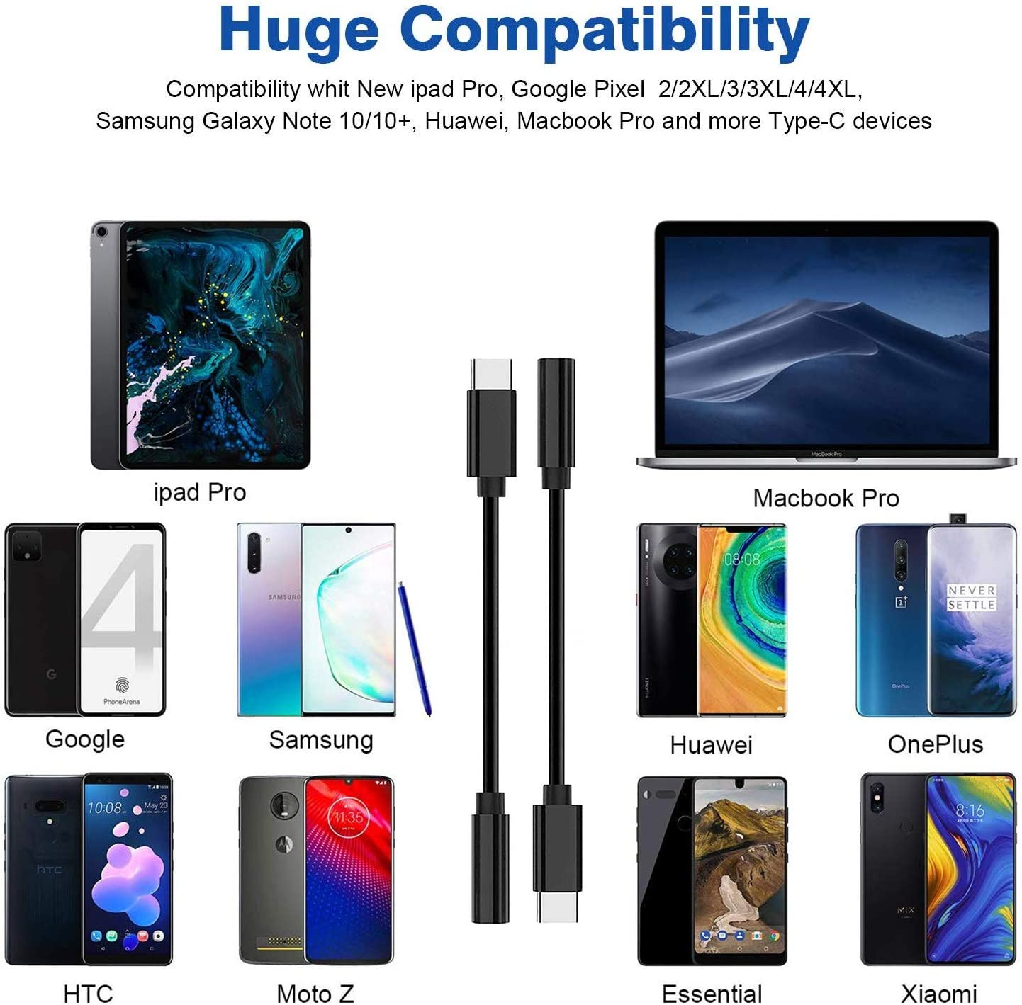 USB-C to 3.5mm Aux Audio Earphone Dongle Jack Cable Type C Adapter Connector for Huawei P30 Pro//Mate 10 Pro//iPad Pro//Google Pixel//Samsung//OnePlus-White USB-C to 3.5 mm Headphone Jack Adapter 2 Pack