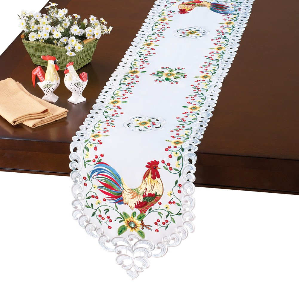 Rooster Sunflowers Lacy Embroidered Tablerunner