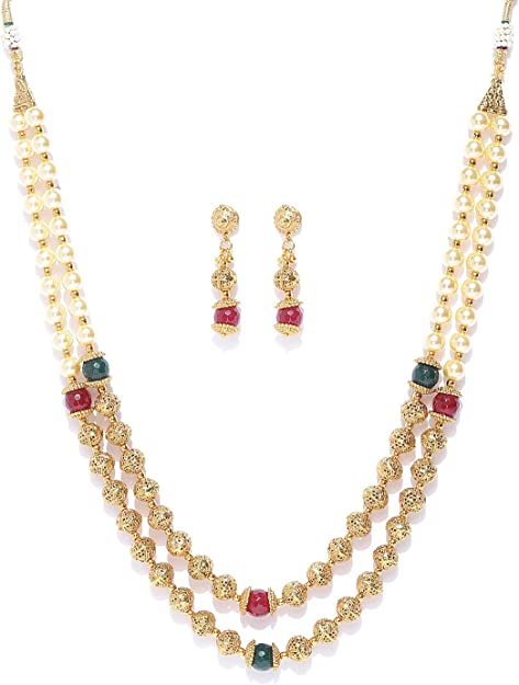 Elegant Stunning Gold Plated Pearl Mala Necklace Earring set