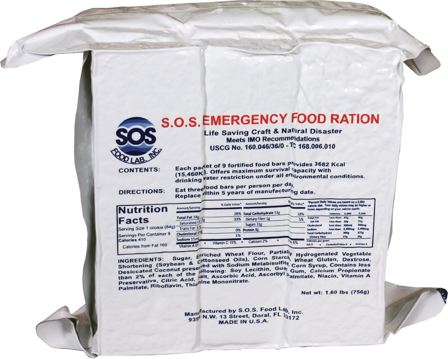 S.O.S. Rations Emergency 3600 Calorie Food Bar - 3 Day / 72 Hour Package with 5 Year Shelf Life SOS Food Labs