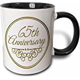 3dRose mug_154507_4 65Th Anniversary Gift Gold Text for Celebrating Wedding Anniversaries 65 Years Married Together Two Tone Black Mug, 11 oz, Black/White