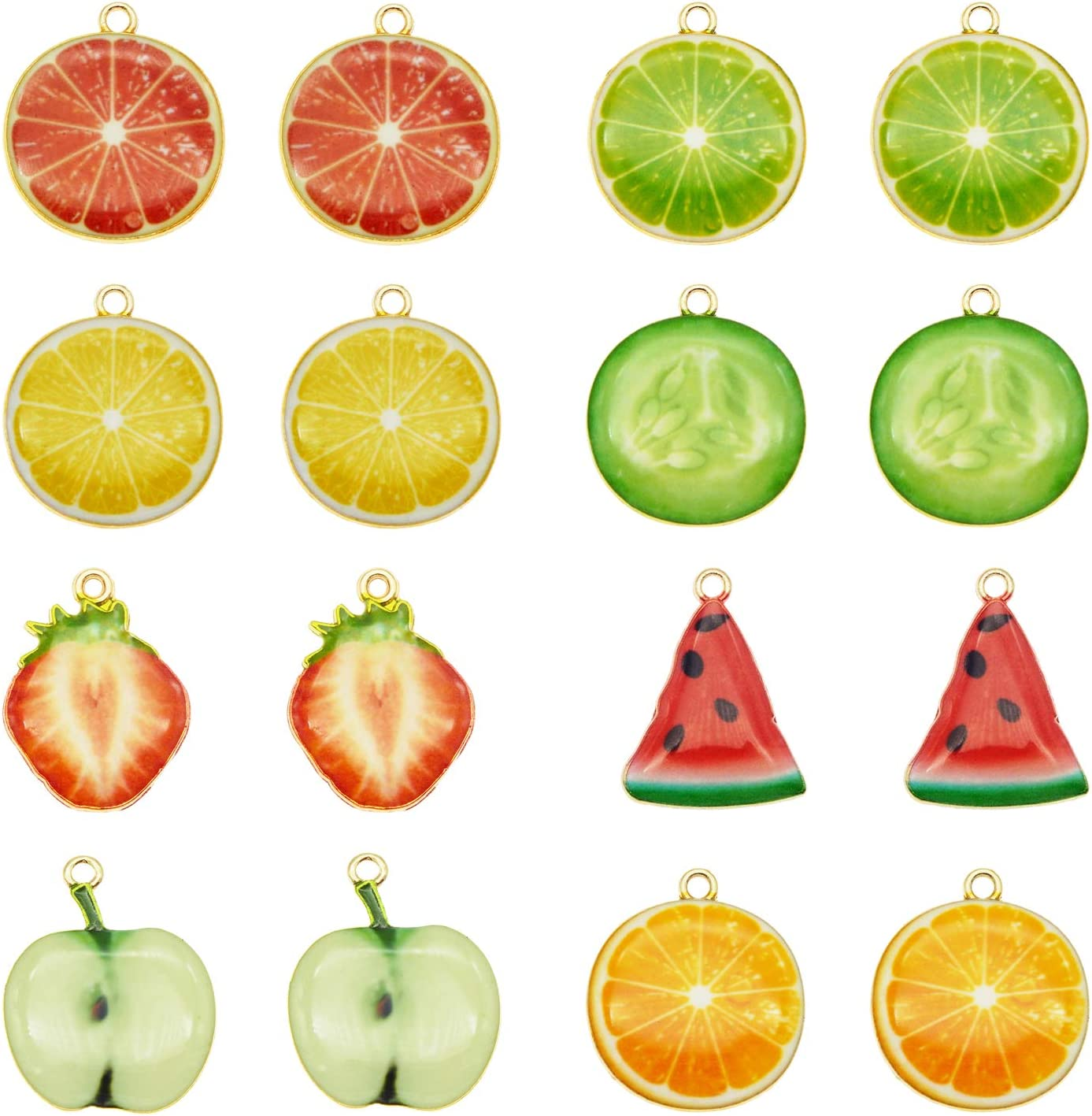 JJGrace 32pcs Assorted Gold Plated Enamel Lemon Watermelon Orange Strawberry Apple Dainty Dangle Fruit Food Charms for Earrings Jewelry Making Necklace Bracelet
