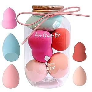 5Pcs Make Up Sponge Blender,Cosmetics Beauty Assecories Set, Muti-Colored Makeup Techniques for Liquid Cream and Powder, Dry Wet Use