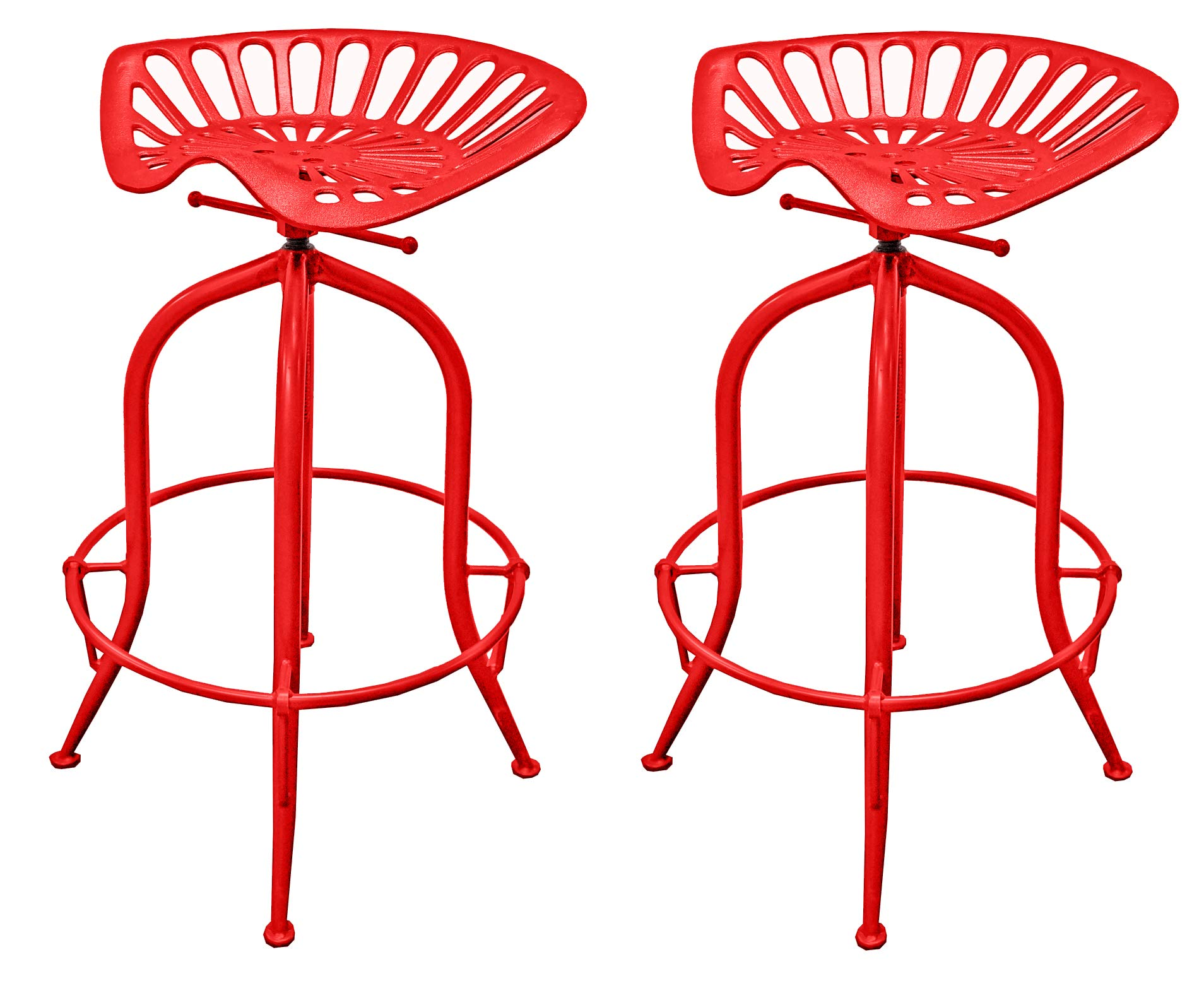 NACH Vintage Style Adjustable Tractor Seat Bar Stool with Circle Base Foot Rest , 19.5x14.5x26-33'', Red,  (Set of 2) by NACH