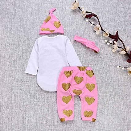 Amazon.com: SRYSHKR 4PCS Toddler Baby Letter Print Romper+Heart Print Pants+Hat+Headband Set Outfit: Clothing