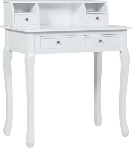 Best Choice Products 31.5in Wooden Colonial Writing Desk Station for Home Office Study with 4 Drawers, 2 Cubbies, Floating Hutch, White