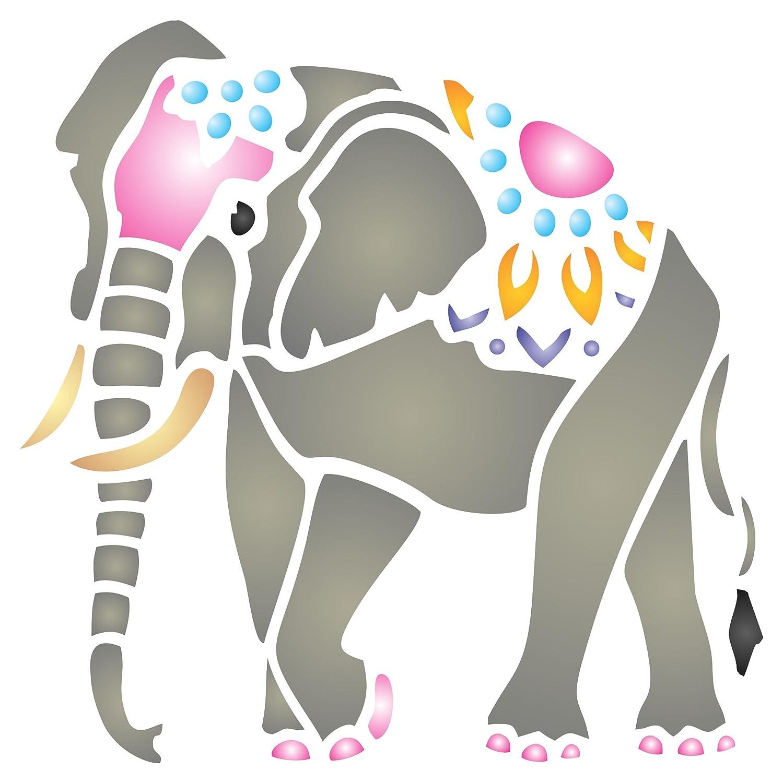 Amazon.com: Indian Elephant Stencil - 4.5 x 4.5 inch (S) - Reusable ...