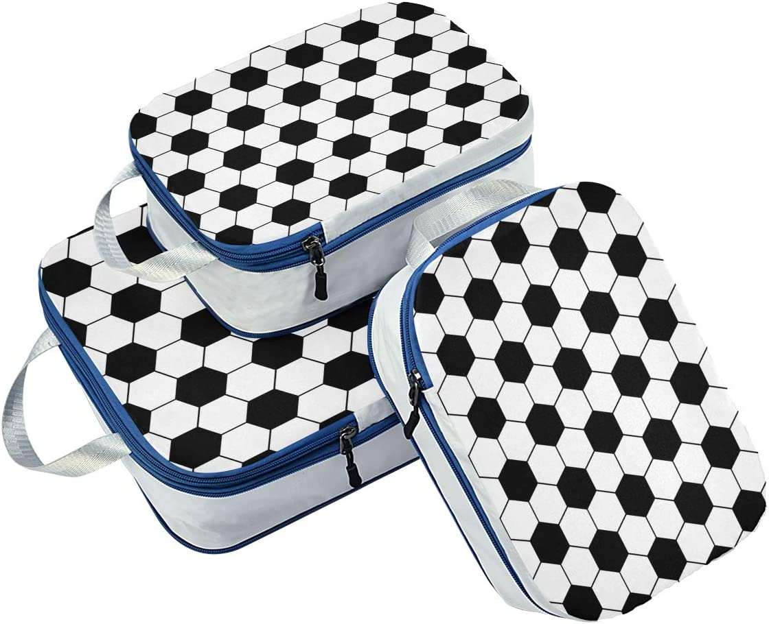 Seamless Football Pattern 3 Set Packing Cubes,2 Various Sizes Travel Luggage Packing Organizers t3