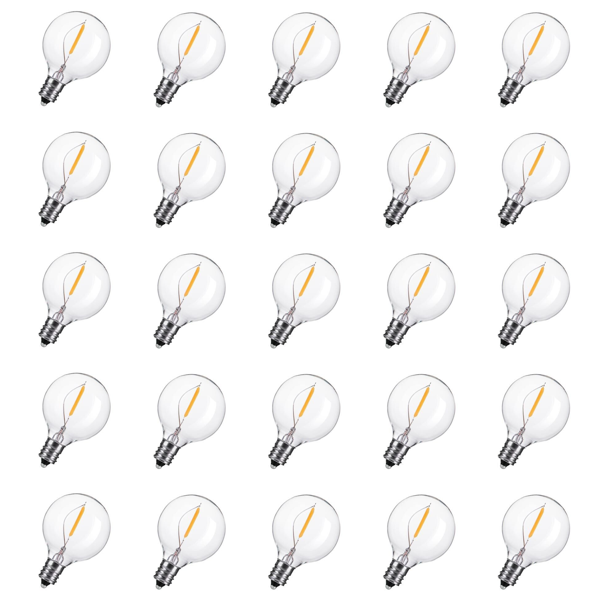 25-Pack LED G40 Replacement Bulbs, E12 Screw Base LED Globe Light Bulbs for Patio String Lights, Equivalent to 5-Watt Clear Light Bulbs