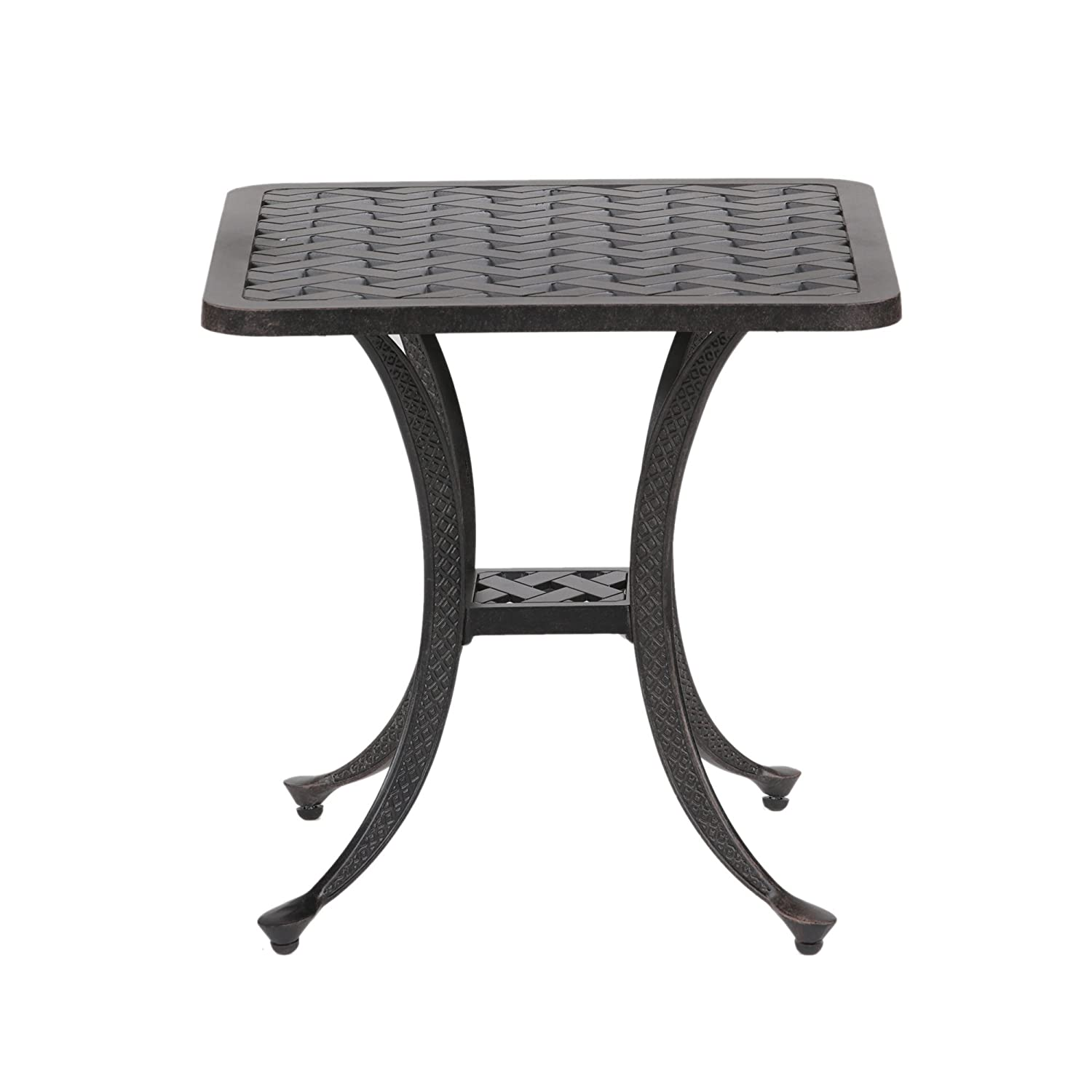 Best Patio Furniture Patio Sparta Standard Square Cast Aluminum Side Table//Outdoor End Table