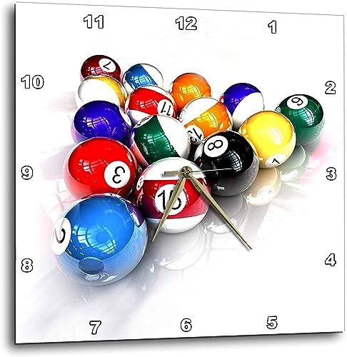 3dRose DPP_3318_3 Billiards Balls Pool Wall Clock, 15 by 15-Inch
