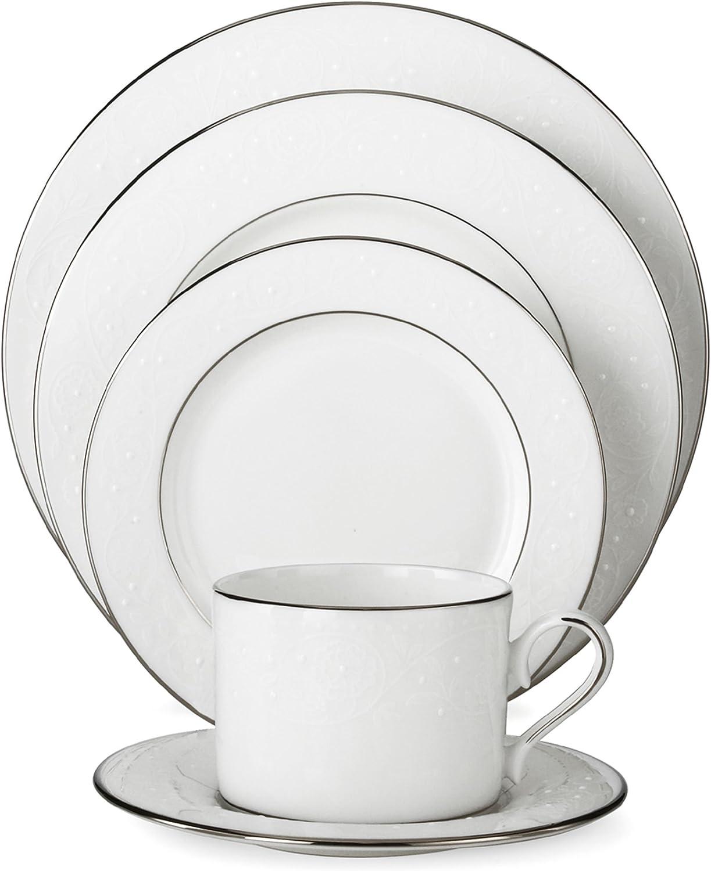Lenox 585747-6381784 Floral Veil Bone China Platinum Banded Dinnerware Sets, White