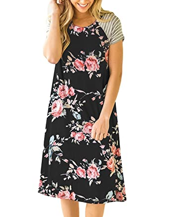 21b2357712 Vemvan Women s Floral Print Casual Short Sleeve A-Line Loose T-Shirt Dresses  Knee Length at Amazon Women s Clothing store