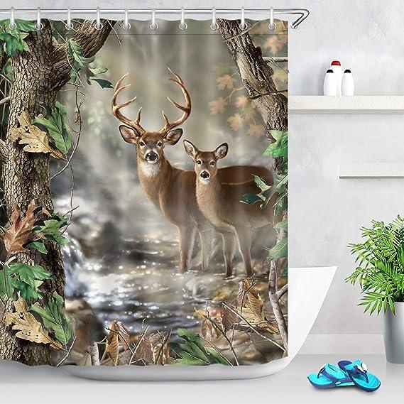Waterproof Fabric Farm House Tractor Car Deer illustration Bath ShowerCurtain
