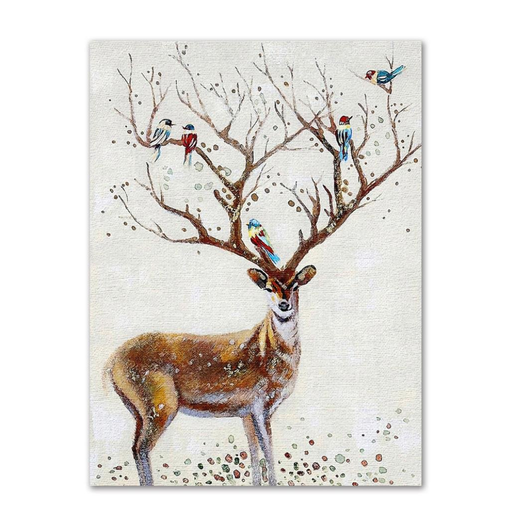 Transer Modern Cartoon Elk Wall Art Painting Decorative Paintings For Living Room Bedroom Entrance (9.8x11.8 inch, A)