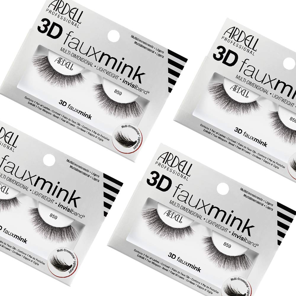 Ardell False Eyelashes 3D Faux Mink 859, 4 pairs