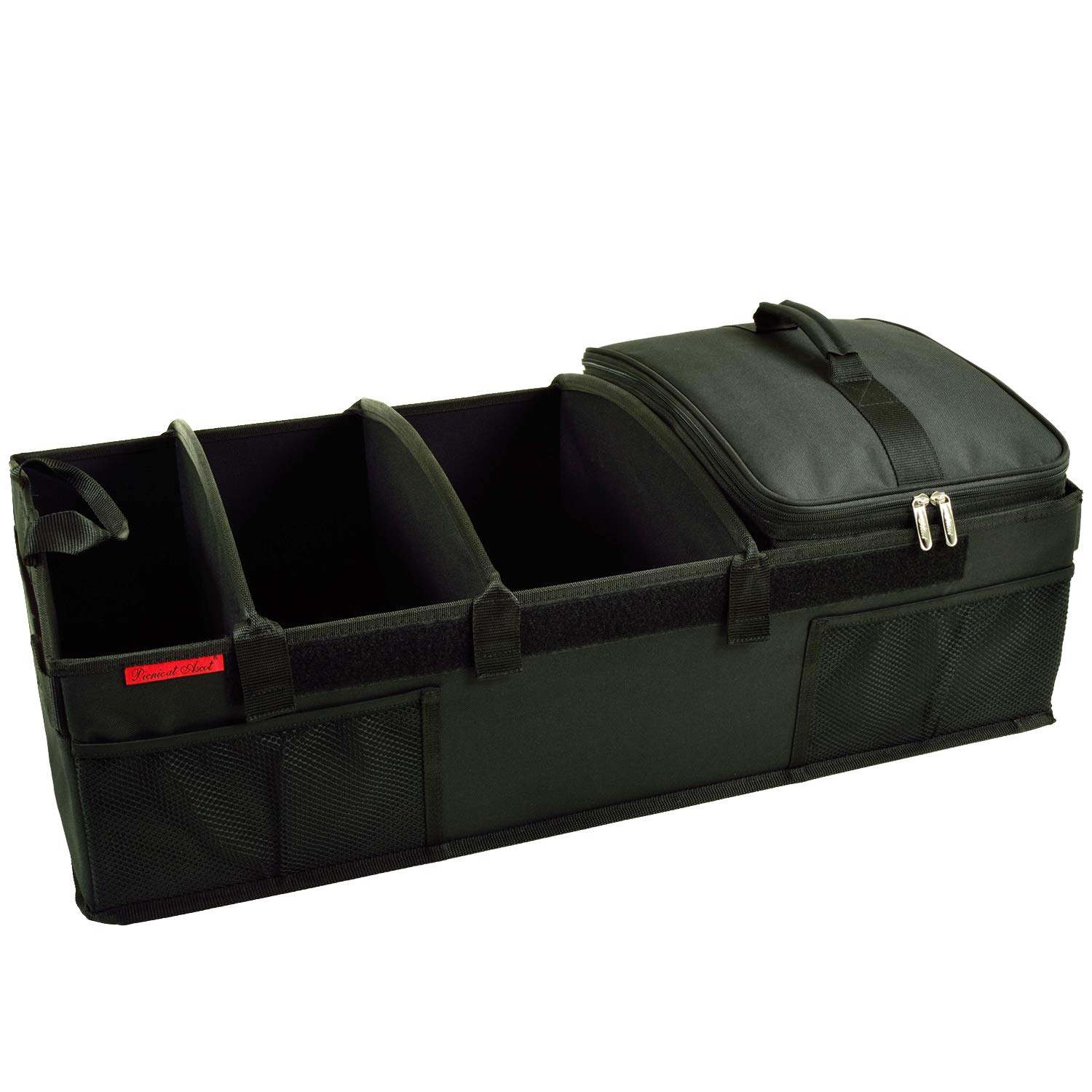 Picnic at Ascot 8034-BLK-Ultimate Heavy Duty Trunk Organizer with Cooler, 70 lb Capacity, Black