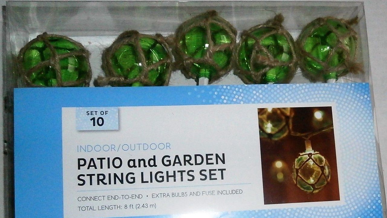 Nautical Green Buoy Float Patio and Garden String Light Set of 10 Unbreakable Vintage Glass Style Lights Patio String Lights TopNotch Outlet