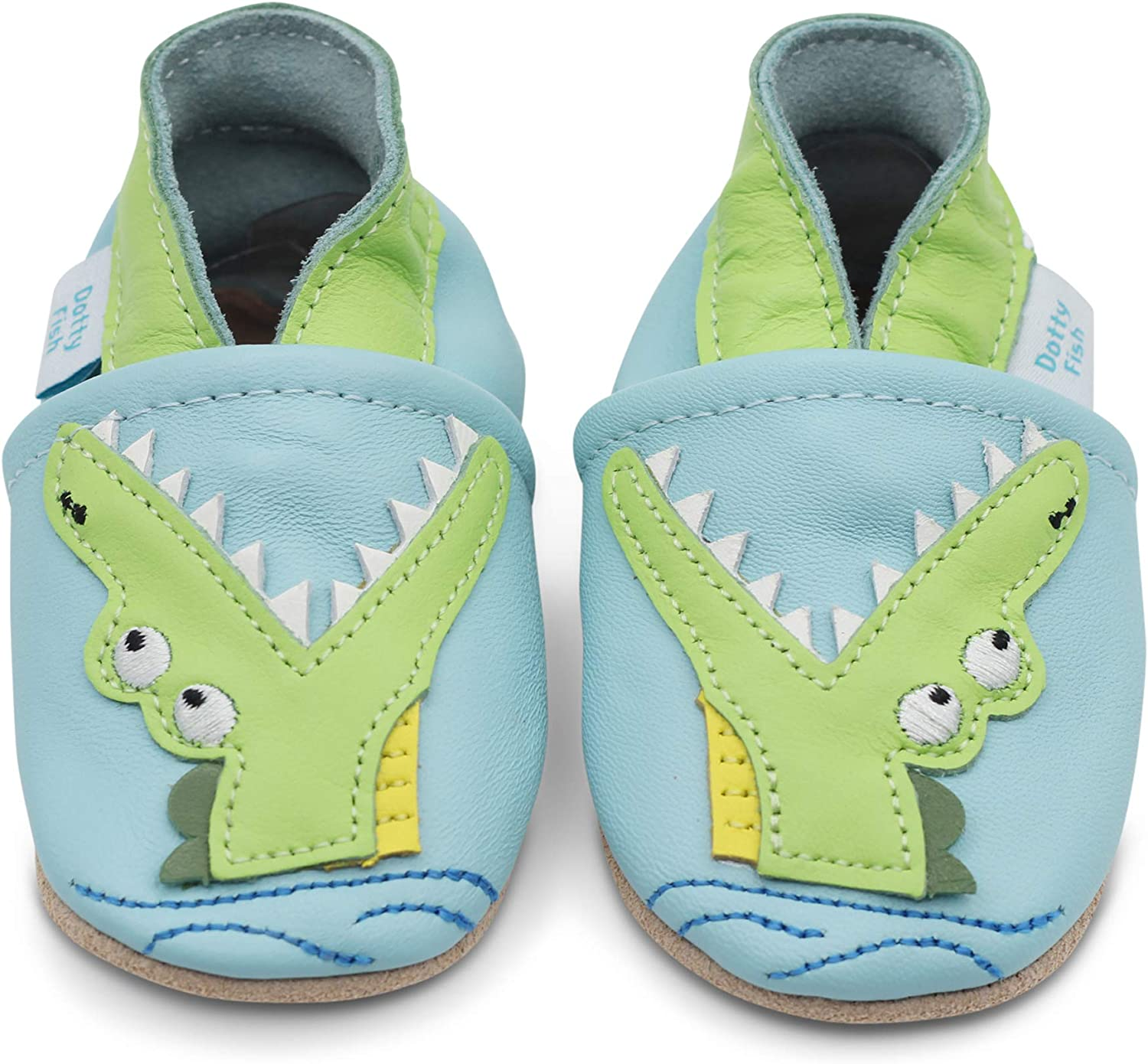 Dotty Fish Soft Leather Boys Infant Toddler Shoes.