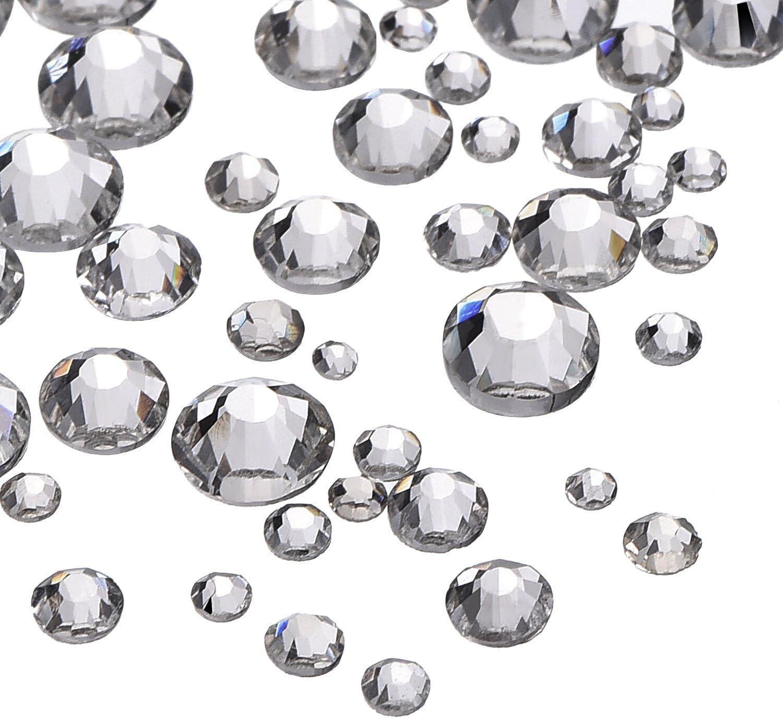 2000 Piezas 5 Tamaños Diamantes de Imitación de Cristal Gemas Planas Transparentes Redondas 1,5-5 mm