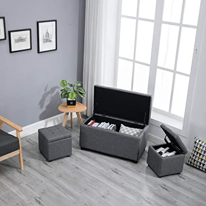 Astonishing Samincom 3 Piece Rectangular Cube Storage Ottoman Bench Set With Fabric Upholstery Grey Gmtry Best Dining Table And Chair Ideas Images Gmtryco