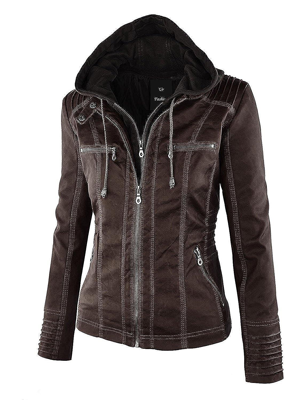 Womens Fashion Faux leather Detachable Cap Jacket with Pocket
