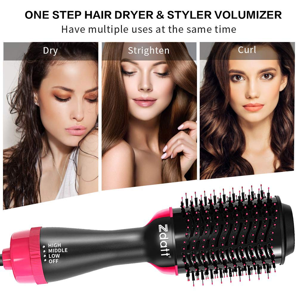 ZDATT Hot Air Hair Brush & Volumizer, 3-in-1 Salon Styling Hair Dryer and Styler, Negative Ion Straightening Brush Curl Brush, Multi-functional for Straight & Curly Hair. UL Swivel Wire b by ZDATT (Image #3)