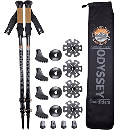 ON SALE Odyssey Outfitters ULTRALIGHT Carbon Fiber Collapsible Hiking Trekking Poles – Ultra Light – Flip Locks – Cork Handles – Plus DOUBLE BONUS Accessory Pack – 5 Year Warranty