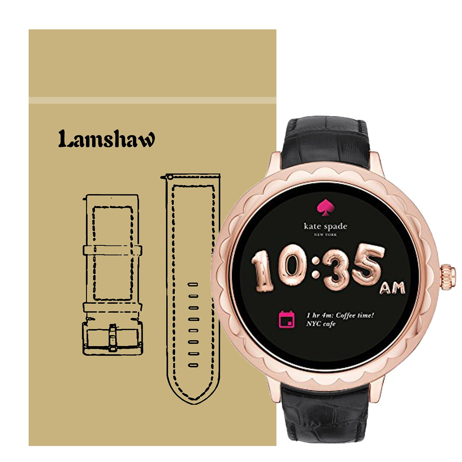 For Kate Spade Scallop Band, Lamshaw Leather Crocodile Pattern Replacement Band Classy Strap for Kate Spade Scallop Touchscreen Smartwatch (Black)