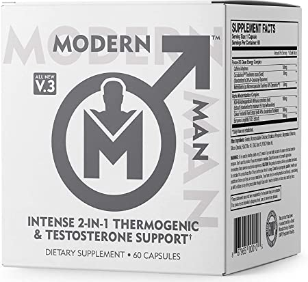 Modern Man V3 - Testosterone Booster + Thermogenic Fat Burner for Men, Boost Focus, Energy & Alpha Drive - Anabolic Weight Loss Supplement & Lean Muscle Builder   Lose Belly Fat - 60 Pills