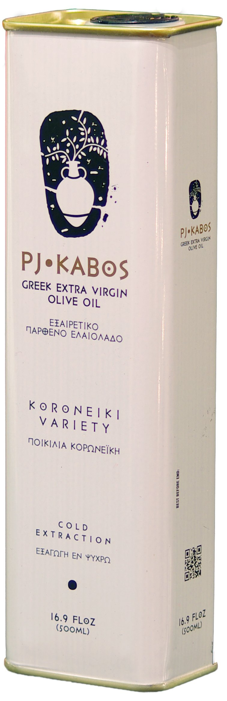 2017 GOLD Medal Winner PJ KABOS 16.9Floz Greek Extra Virgin Olive Oil | 100% FRESH olive oil born in Ancient Olympia vicinity | Greece | KORONEIKI Variety | 16.9Floz tin