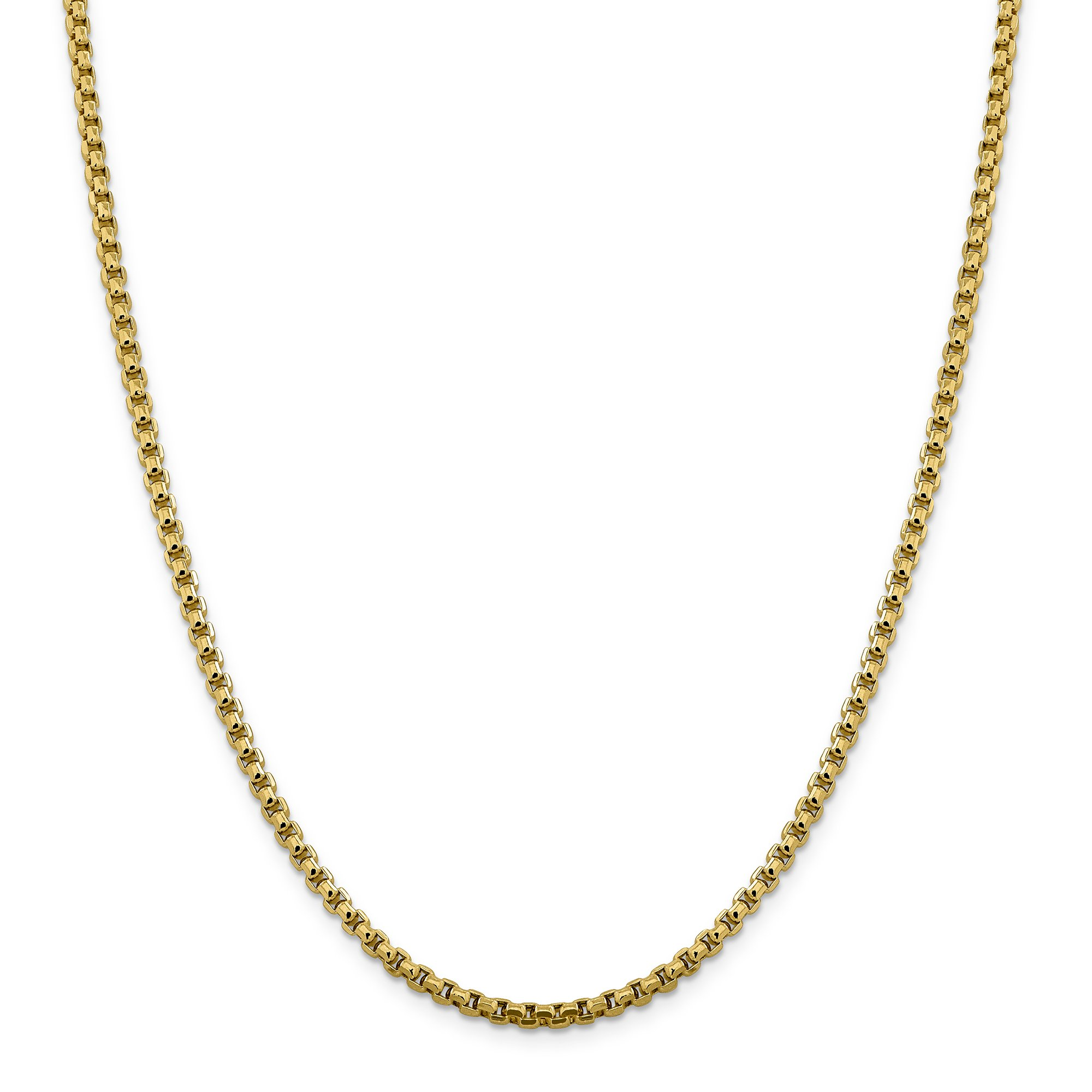 ICE CARATS 14k Yellow Gold 3.6mm Round Link Box Chain Necklace 20 Inch Fine Jewelry Gift Set For Women Heart