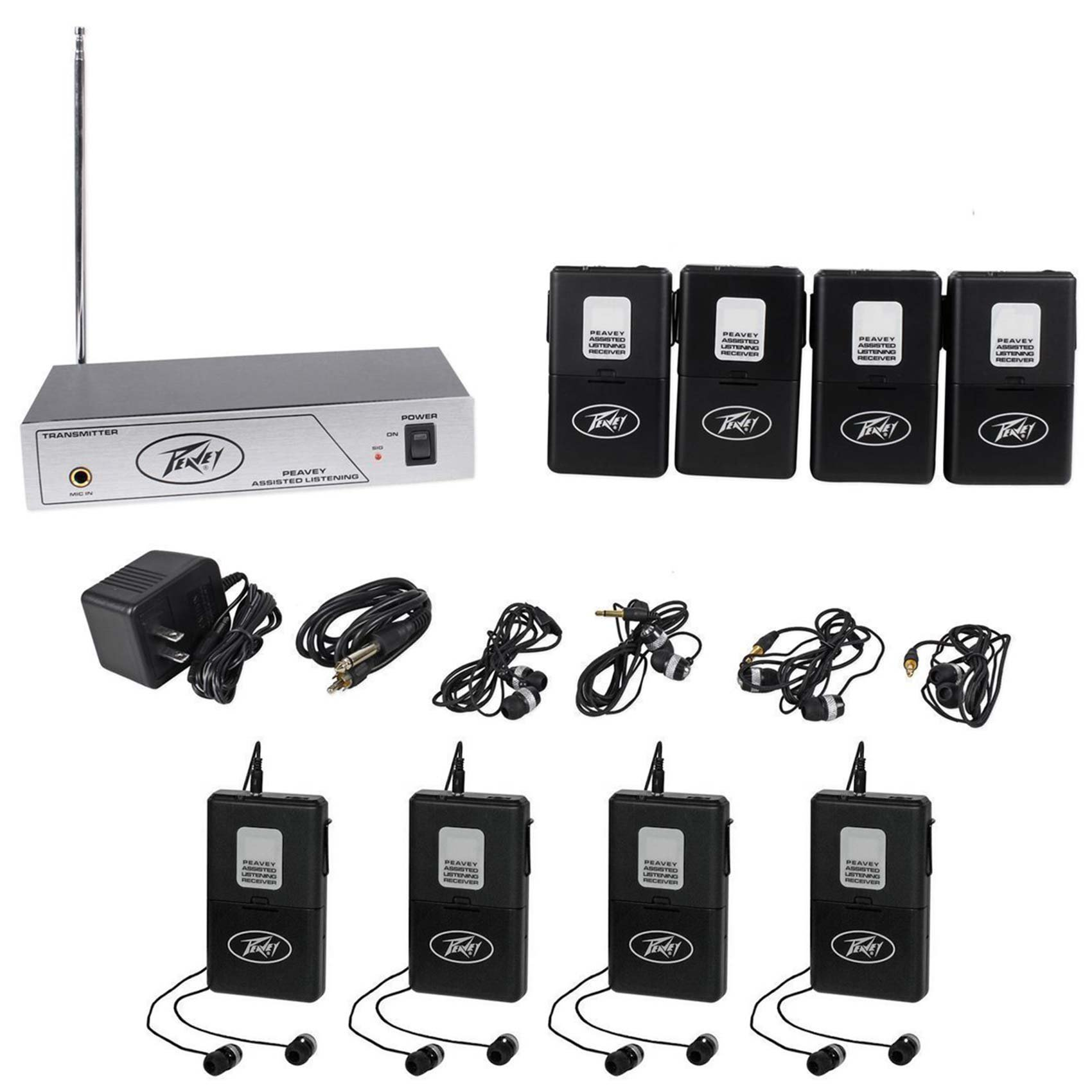 Package: Peavey ALS 75.9 Mhz Assisted Listening System Transmitter And Four Receivers With Ear Buds + (4) Peavey ALSR 75.9 Mhz Assisted Listening Receivers Body Pack for ALS 75.9 System