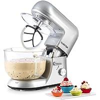 Klarstein - Bella Argentea 2G, Robot de Cocina, Mezcla, Amasadora, Batidora, 1200W, 2,5 a 5,2 litros, Bol Cristal, 6…