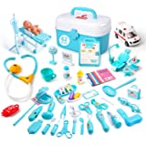 CUTE STONE Kid Doctor Kits Toy,62PCS Toy Medical Kit Dentist Playset w/ Doll, Ambulance & Carrying Case, Doctor Playset Gift