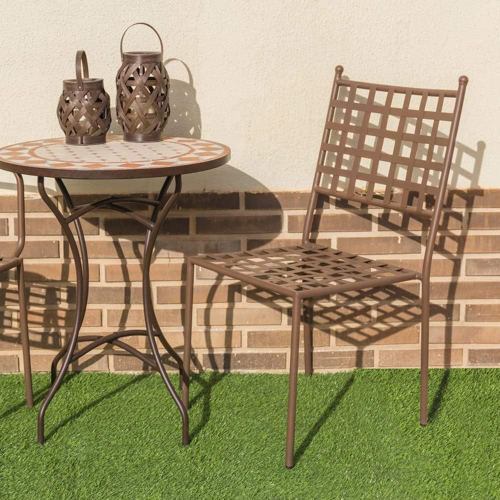 Silla apilable de Hierro marrón para jardín y Exterior Garden - LOLAhome: Amazon.es: Jardín
