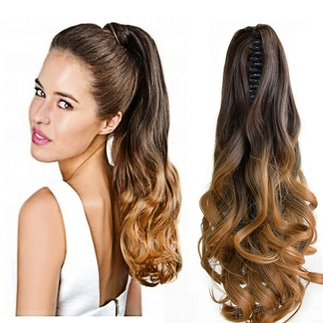 Neverland Beauty 20''(50cm) Natural Ombre Look Two Tone Long Big Wavy Claw Curly Ponytail Clip in Hair Extensions 6#/27# by Neverland Beauty & Health