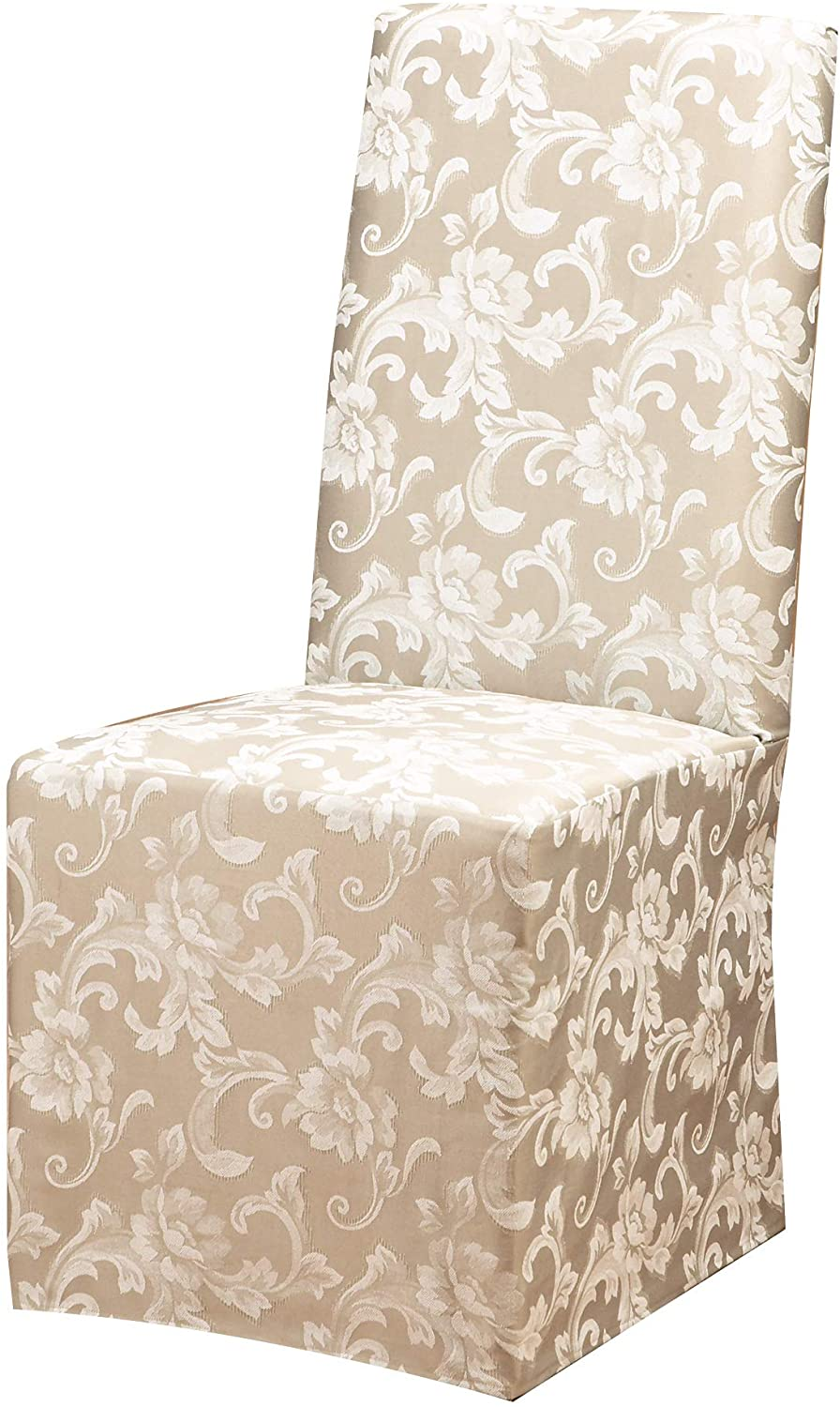 SureFit Scroll Long Dining Side Chair Slipcover - Adjustable Fit - Polyester and Cotton Blend - Up to 42 Inches Tall - Machine Wash - Champagne