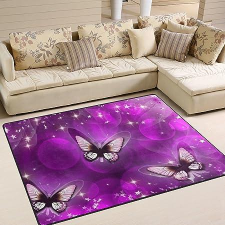 Jstel Ingbags Super Soft Modern Purple Butterfly Area Rugs Living