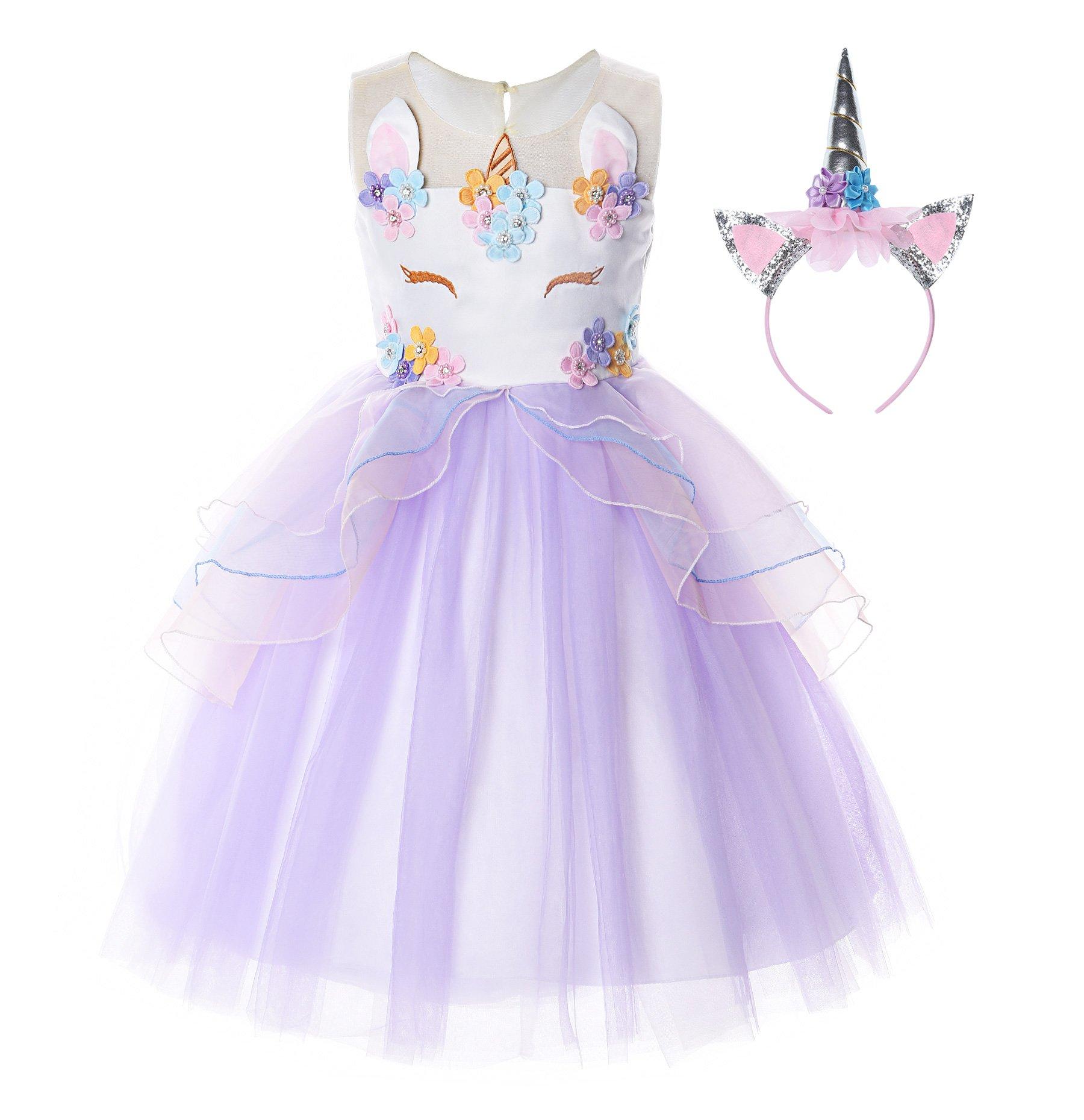 JerrisApparel Flower Girls Unicorn Costume Pageant Princess Party Dress (8-9 Years, Purple)