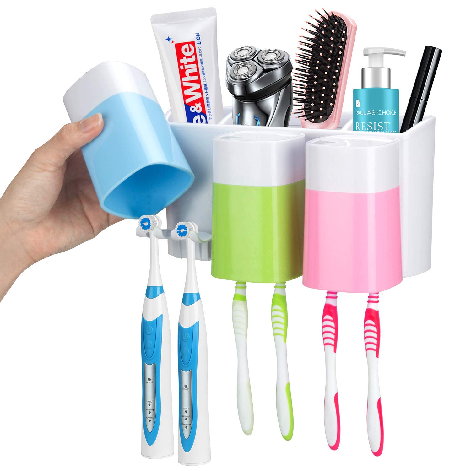 iHave Toothbrush Holder Wall Mounted with Large Capacity,Dustproof,Drill Free,3 Cups&9 Hanging,Bathroom Storage Organizer for Kids Family Set by iHave